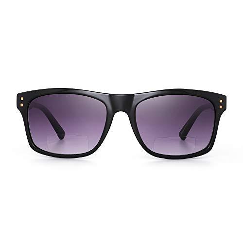 JM Gafas de sol de lectura bifocales para hombres y mujeres Lectores vintage Gafas de sol pleastic para exteriores Gafas de sol con montura negra brillante/Lente gris +1.0