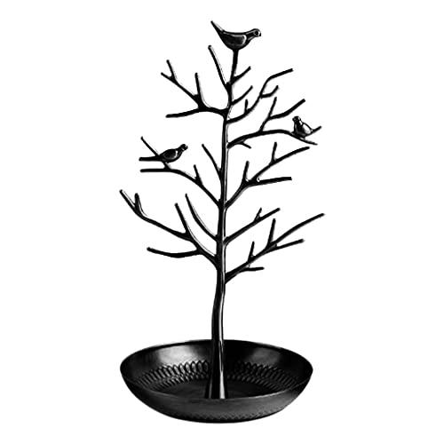 F Fityle Creativo Pájaros Árbol Soporte de joyería Exhibición Pendiente Collar Pulsera Soporte de Estante Organizador Torre de Estante - Negro