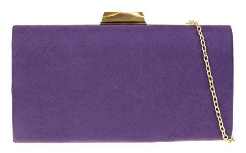Girly Handbags Caja leopardo del bolso de embrague duro (Púrpura)