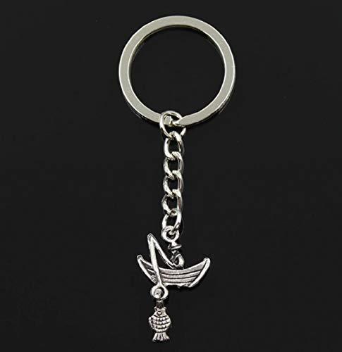 Sportigo ® Angler mit Boot und Fisch Schlüsselanhänger in der Farbe Silber/Angeln Fischen Geschenk