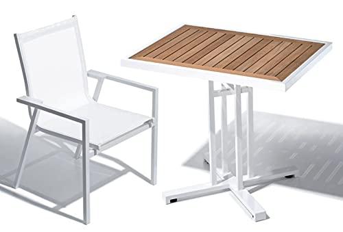 SCHÖNHUBER FRANCHI Set da Giardino Composto da 1 Tavolo in Alluminio Bianco e Teak + 2 sedie in Alluminio e batyline