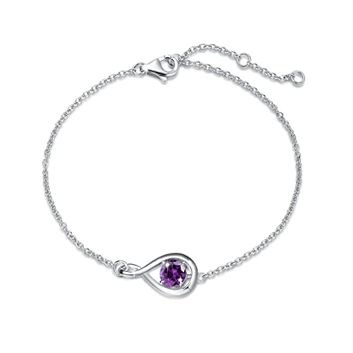 FANCIME 925 Sterling Silver Amethyst Dainty Infinity Link Bracelet February Birthstone Jewelry Gifts for Women Girls, Chain Length 6.7+1.2'…