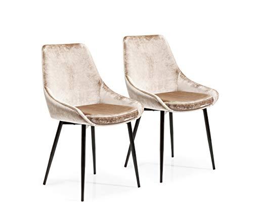 Kare Design Stuhl East Side 2er Set, Polsterstuhl in Samtstoff, Esszimmerstuhl, Beige, 83 x 57 x 48 cm