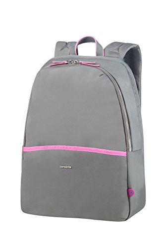 "SAMSONITE Nefti - Backpack 14.1"" Mochila Tipo Casual, 41 cm, 15 Liters, Gris (Rock Grey/Fuchsia)"