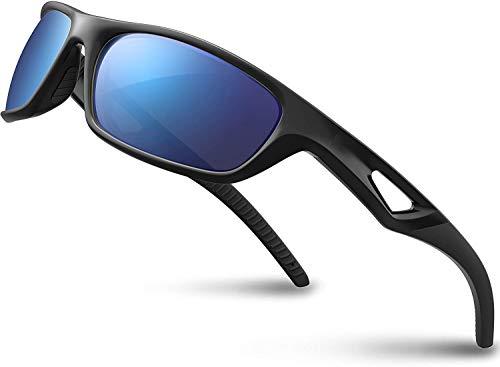 SKILEC Gafas de Sol Hombre Mujer Polarizadas TR90 - Gafas Running, Gafas Ciclismo Hombre Ideales para Deporte, Pesca, MTB, Golf, Bicicleta Gafas de Sol Deportivas Protección 100% UV400 (Negro Azul)
