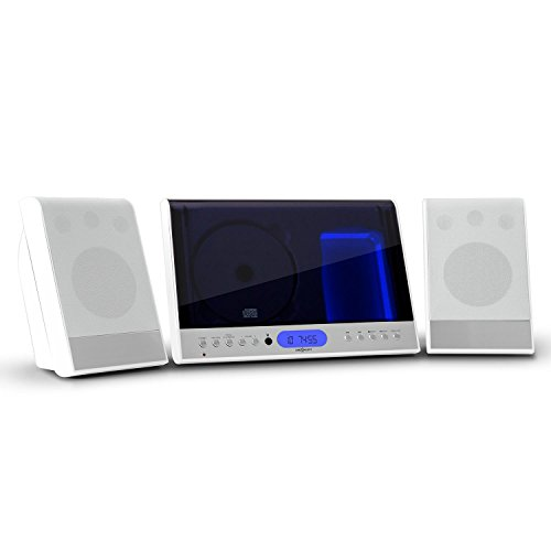 OneConcept 90 Impianto Stereo Verticale Stereo Compatto Hi Fi (Lettore CD, USB, MP3, AUX, SD, Radio UKW) Bianco