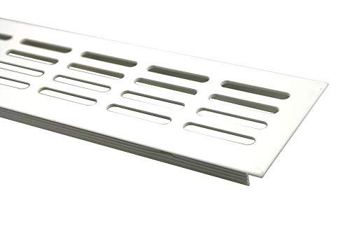 Aluminium Lüftungsgitter Stegblech Lüftung 60mm x 600mm in verschiedenen Farben (Weiss pulverbeschichtet RAL 9010)
