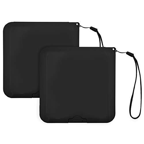 2x Maskenbox für Mundschutz, Tragbare Aufbewahrungsbox ideal für FFP2 Maske, Aufbewahrungsbehälter mit Band, Maskenetui für staubdichte Masken Aufbewahrung, Box für Mundschutzmasken (Schwarz)