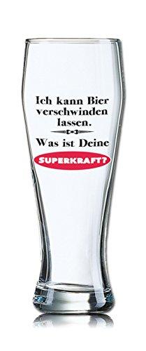 Lustiges Bierglas Weizenbierglas Bayern 0,5L - Dekor: Ich kann Bier verschwinden lassen. Was ist Deine SUPERKRAFT?