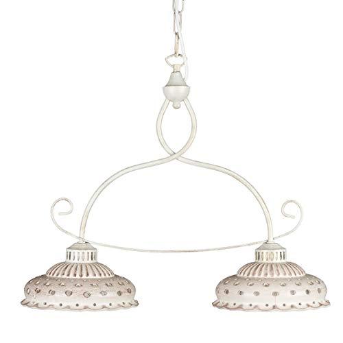 Helios Leuchten 207146 Keramiklampe antik-weiß | beige - braun | Pendellampe Pendelleuchte aus Keramik | handbemalte Keramikleuchte | Hängelampe Esstisch 2 x E27