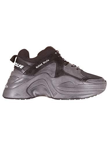 Naked Wolfe Sneakers Nwstrack, Damen, Leder und Wildleder, Grau/Schwarz, Grau - grau - Größe: 39 EU