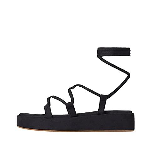 Geilisungren Gladiator Damen Sandalen Riemchen Römersandalen mit Schnürung Flache Strandsandalen zum Binden mit Knöchelriemen Sandalen mit offener Zehenpartie Sommer Flip Flop