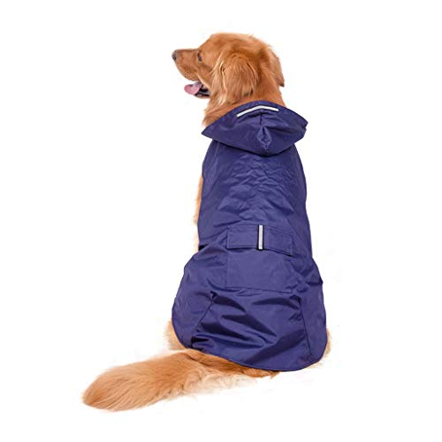 Koobysix Hond benodigdheden Reflecterende Hooded Hond Regenjas Waterdicht Verpakbare Regen Poncho Regenkleding Kleding Geschenken voor Uw Hond, 4XL, Zwart