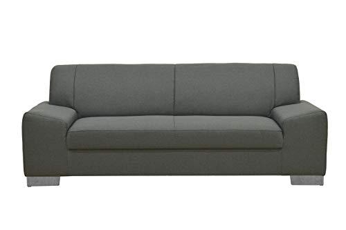DOMO Collection Alisson Sofa, 3er Couch, 3-Sitzer, 3er Garnitur, 199x83x75 cm, Polstergarnitur in grau