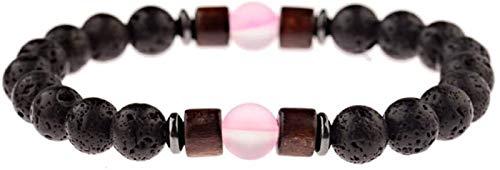 Plztou Pulsera de piedra, mujer, 7 chakra 8mm perlas de cuarzo rosa natural, piedra, piedra, elástico, elástico, brazalete, brazalete, joyería, joyería, yoga, energía, reiki, joyería, regalo de joyerí