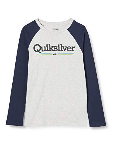 Quiksilver Tropical Lines - Camiseta De Manga Larga para Niños 8-16 Camiseta De Manga Larga, Niños, Athletic Heather, L/14