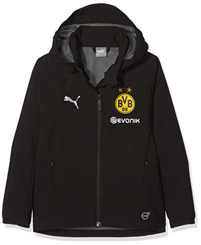 PUMA Kinder Jacke BVB Rain Jacket Jr with Sponsor Logo, Puma Black, 164, 753378