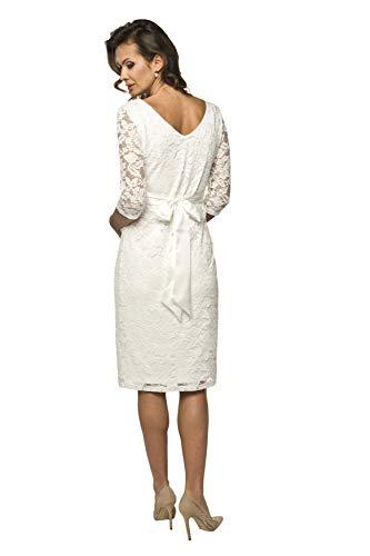 Torelle Damen Umstandskleid Brautkleid für Schwangere, Modell: LACE, 3/4 Arm, Creme - 2