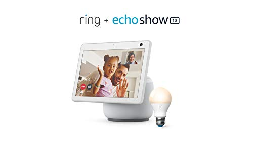 All-new Echo Show 10 (3rd Gen) - Glacier White - bundle with Ring A19 Smart LED Bulb