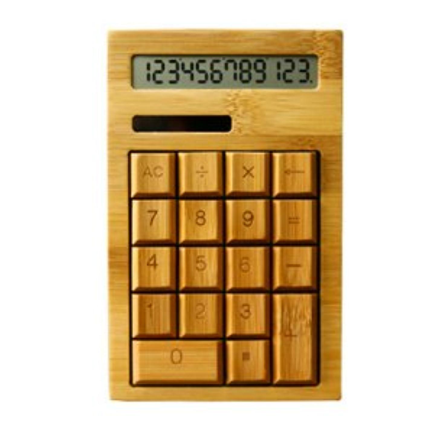 腰イヤホン登場竹製 電卓【12桁】ソーラー式 シンプルで使いやすいカリキュレーター