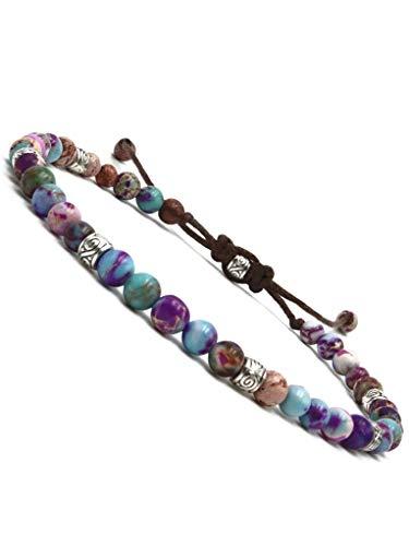 BENAVA Damen Yoga Armband Bunt aus Jaspis Edelstein Perlen | Chakra Glücksarmband Damenarmband Freundschaftsarmband | Boho Hippie Schmuck Bracelet | 16-24 cm
