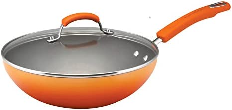 Rachael Ray Brights Nonstick Wok/Stir Fry Pan/Wok Pan with Lid - 11 Inch, Marine Blue Gradient