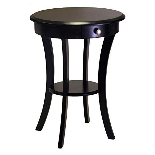 Winsome Wood Round Table with Drawer and Shelf, Black