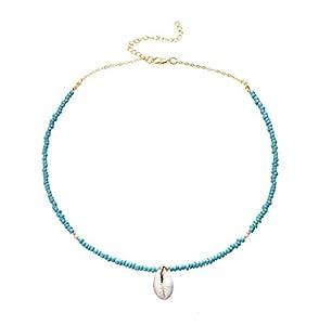 Yakiki Damen Trendy Böhmen Natur Shell Anhänger Türkis Perlen Kette Conch Choker Einfache Halskette
