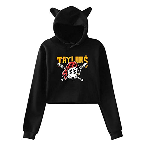 Gang Taylors Smiley Pirate Face Long Sleeve Sweater Black Cat Ear Hoodie Sweater