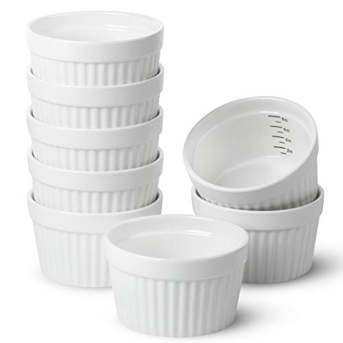 BTaT- Ramekins, Set of 8, Ramekins for Baking, Ramekins 8 oz, Ramekin with Measurement Markings, Creme Brulee Dishes, Souffle Cups, Custard Cups, Ceramic Bakeware, Souffle Dish, Small Ceramic Bowl