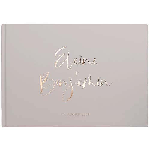 DeinWeddingshop Deluxe Hochzeitsgästebuch - personalisiert & veredelt - Gästebuch zur Hochzeit,...