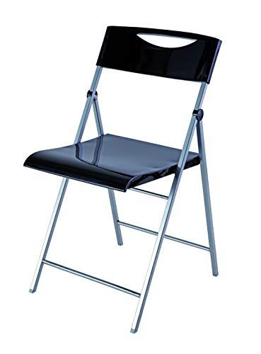 Alba CPSMILE - Lot de 2 Chaises Pliantes - Noir glossy - Acier & ABS