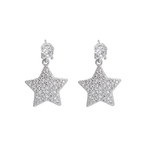YANXIA Pendientes de Flores para Mujer Pendientes Sencillos con Forma de Estrella para Mujer Pendientes Bonitos Blancos Regalo para Niña