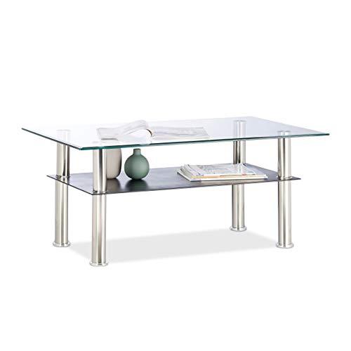 Relaxdays, 100 x 60 x 43 cm Mesa Centro Cristal Baja de 2 Niveles, Vidrio y Acero Inoxidable, Transparente