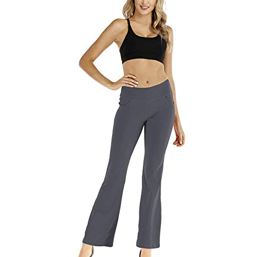 Womens Bootcut Yoga Pants Workout Bootleg Pants Women Solid Color Fitness Trousers Athletic Jogging Leggings Ladies Casual Training Pants Baggy Lounge New Yoga Trousers Pilates Tummy Control M