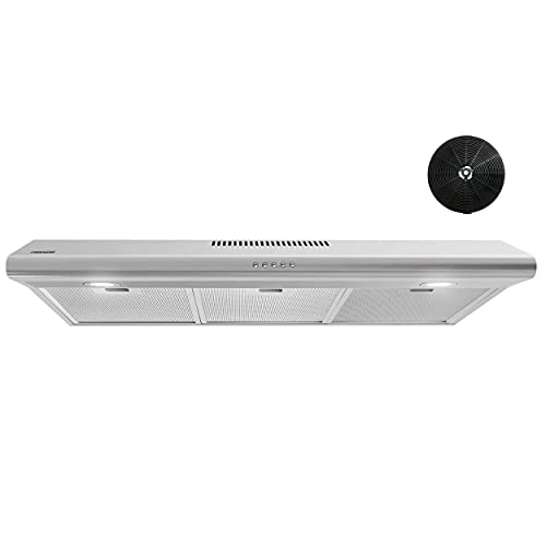 Firegas Under Cabinet Range Hood 36 inch with Ducted/Ductless Convertible, Slim Kitchen Over Stove Vent, LED Light, 3 Speed Exhaust Fan, Reusable Aluminum Filter, Push Button,Charcoal Filter
