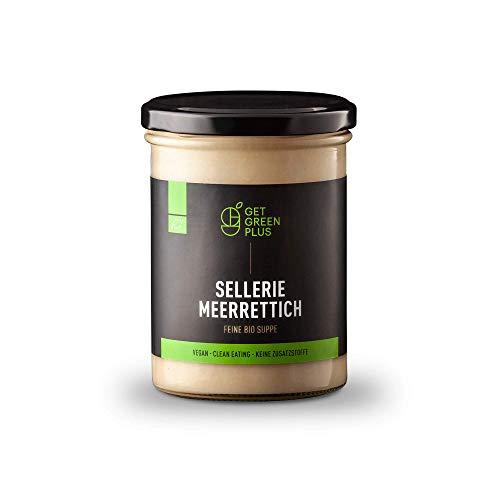 """get green plus - Feine handgekochte Bio-Suppe """"Sellerie-Meerrettich"""" (6x380ml)   vegan, glutenfrei   frisch gekocht aus 100% natürlichen Zutaten   heiß abgefüllt zur Schonung der Nährstoffe"""