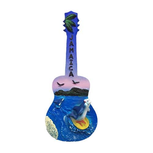 Imán para nevera con diseño de guitarra 3D Jamaica para regalo de recuerdo de resina