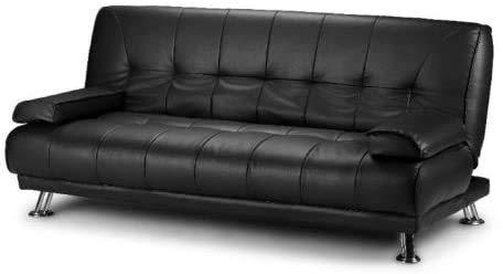 Cuero artificial negro de 3 plazas sofá cama,Black