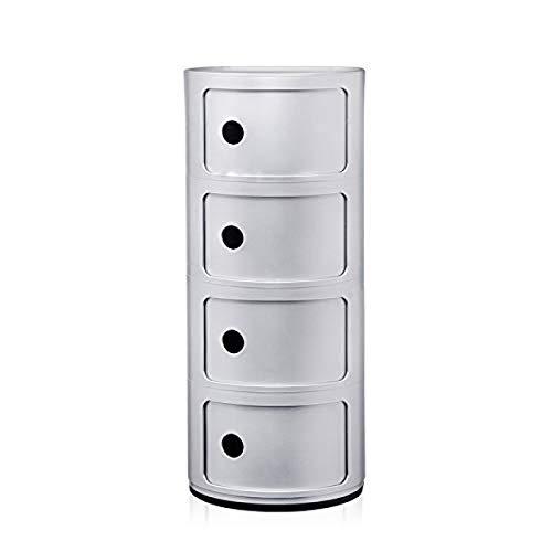 Kartell Componibili Contenitore 4 Elementi, Base Tonda, ABS, Grigio (Argento Opaco), 32 x 32 x 77 cm