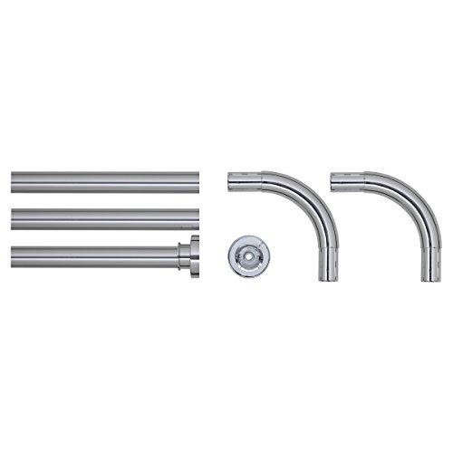 Sealskin Kombi Winkel Duschvorhangstange, Durchmesser 28 mm, Aluminium, Farbe: Chrom glänzend, 90 x 90 x 90 cm