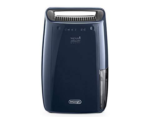 De'Longhi DEX216F Deshumidificador multifunción Limpieza de Aire, 16 L/d, filtros Polvo y Anti alérgenos, Certificado para asmáticos, función de Secado de Ropa y Drenaje Continuo, Acero, azul marino