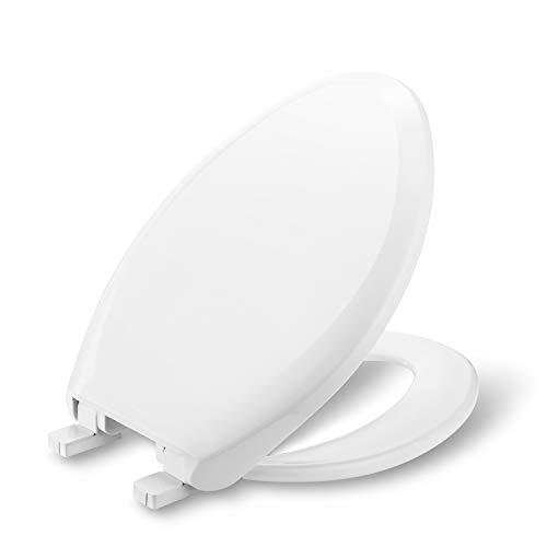 RHITLAND RLSL071 Premium Elongated Slow Close Toilet Seat, Plastic, Fits Most Elongated Toilet bowls, Quiet-Close seat, White (Elongated)