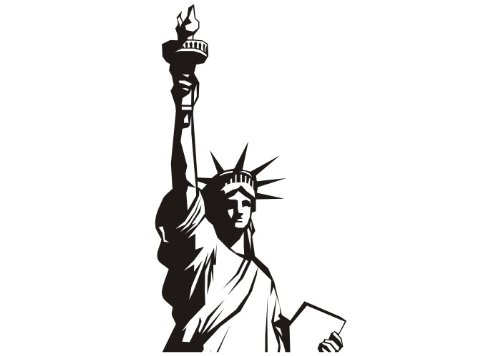 Wandtattooladen Wandtattoo - Freiheitsstatue Größe:33x55cm Farbe: Schablone
