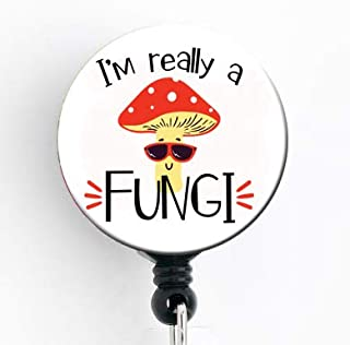 I'm Really a Fungi - Retractable Badge Reel with Swivel Clip and Extra-Long 34 inch Cord - Badge Holder/Murse/Male Nurse/RN/Funny Badge/Mushroom