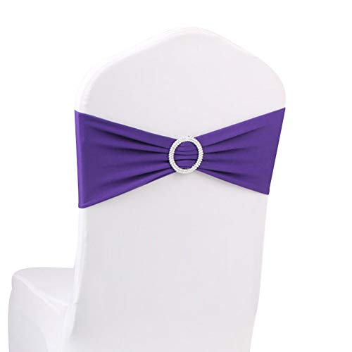 LOVWY 50 PCS Purple Spandex Chair Bands Stretch Chair Sashes Bows for Wedding Party Engagement Event Birthday Graduation Meeting Banquet Decoration (50 PCS, Purple)