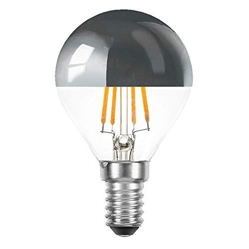 LED Filament Tropfen 4 Watt = 40 Watt E14 Kopfspiegel Silber KVS P45 Glühfaden warmweiß 2700K Retrofit (silber, 1 x 4W ~ 40W)