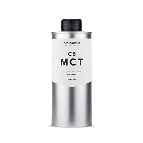 C8 MCT Öl - 100{55640fdef54462a21cc76d5aa0770f238b9b38eaab3b79cd25a531b1dbfb38e5} C8 Caprylsäure - 100{55640fdef54462a21cc76d5aa0770f238b9b38eaab3b79cd25a531b1dbfb38e5} aus Kokosöl - Bulletproof Coffee - Ketogen - Vegan - Low Carb - Hergestellt in Deutschland - 500 ml - proteinclub