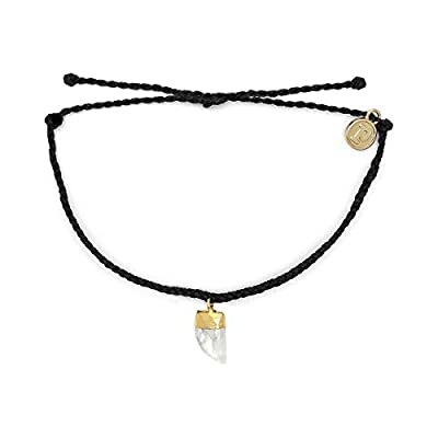 Pura Vida Gold Stone Shark Tooth Charm Bracelet - Adjustable Braided Band, Waterproof