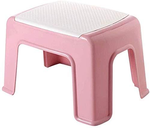 Schoenwisselbank, kleur kunststof, dik, kleine badkamerbank, badkruk, voor kinderen, kleine kruk, schoenenladen hoogte 16-21 cm (kleur: geel, maat: 31 x 23 x 16 cm) 33 * 23 * 21CM Pale Pink